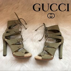 Auth. GUCCI Logo Jasmine Lace Up Espadrille Heels